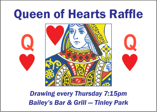 Together We Cope Queen of Hearts raffle is at Bailey's Bar & Grill in Tinley Park