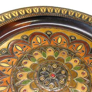 floral-pattern-wooden-plate-0701